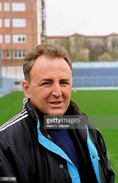 International war criminal Zeljko Raznatovic also known as Arkan visits a practice session of his soccer team in Belgrade Yugoslavia March 29 1999...