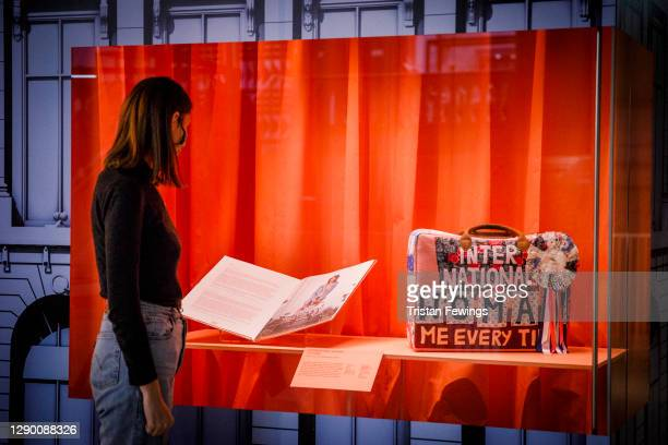 """International Woman' Suitcase by Tracey Emin for Longchamp goes on display during the """"Bags: Inside Out"""" press view at Victoria and Albert Museum on..."""