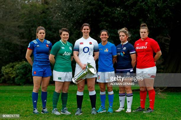 International women rugby captains France's Gaelle Hermet Ireland's Ciara Griffin England's Sarah Hunter Italy's Sara Barattin Scotland's Lisa Martin...
