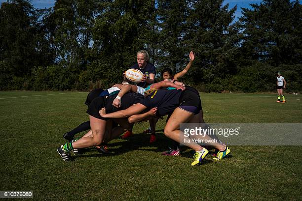 International women rugby players seen taking part in a weekend training session on September 25 2016 in Helsingor Denmark Tabusoro Angels is an...