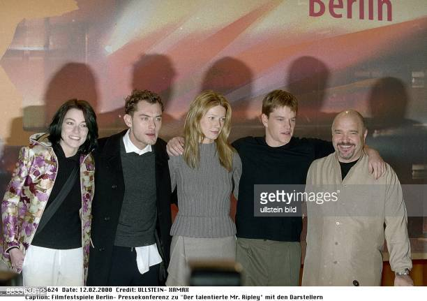 50 Internationale Filmfestspiele in Berlin Pressekonferenz zu dem Spielfilm 'Der talentierte Mr Ripley Gruppenaufnahme der Darsteller Stefania Rocca...