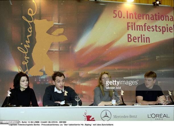 50 Internationale Filmfestspiele in Berlin Pressekonferenz zu dem Spielfilm 'Der talentierte Mr Ripley vl die Darsteller Stefania Rocca Jude Law...