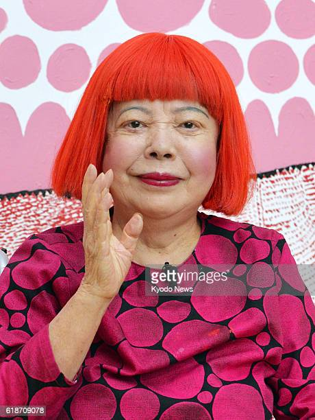Internationally acclaimed artist Yayoi Kusama attends a press conference in Tokyo on Oct 27 as she has been named as one of this year's Order of...