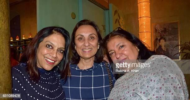 Internationally acclaimed filmmaker Mira Nair Londonbased restaurateur Namita Panjabi and Anita Lal of Good Earth at a hightea hosted at Good Earth...