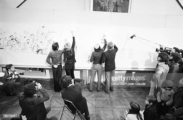 Internatonal Festival Of Comic Strip Angouleme Angoulême 28 Janvier 1974 Lors du festival de la bande dessinée de gauche à droite Marcel GOTLIEB et...