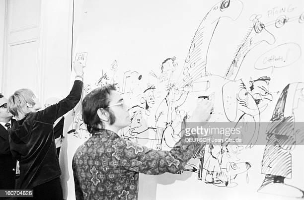Internatonal Festival Of Comic Strip Angouleme Angoulême 28 Janvier 1974 Lors du festival de la bande dessinée Marcel GOTLIEB et Claire BRETECHER...