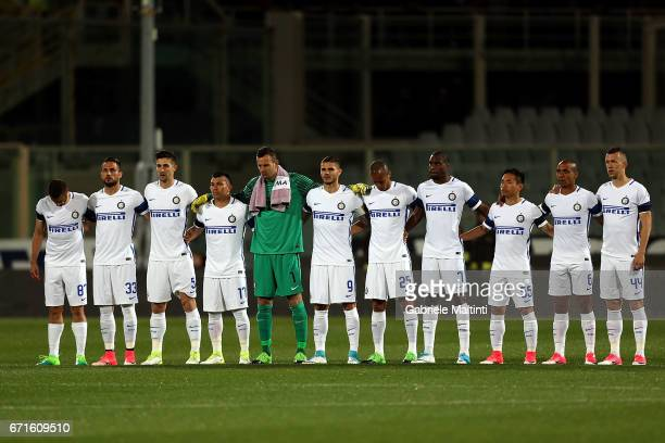 Internazile poses during the Serie A match between ACF Fiorentina v FC Internazionale at Stadio Artemio Franchi on April 22 2017 in Florence Italy