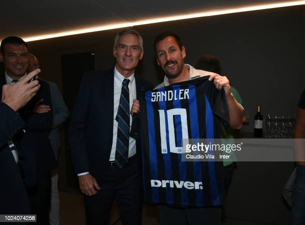 Internazionale Alessandro Antonello and actor Adam Sandler pose before the serie A match between FC Internazionale and Torino FC at Stadio Giuseppe...