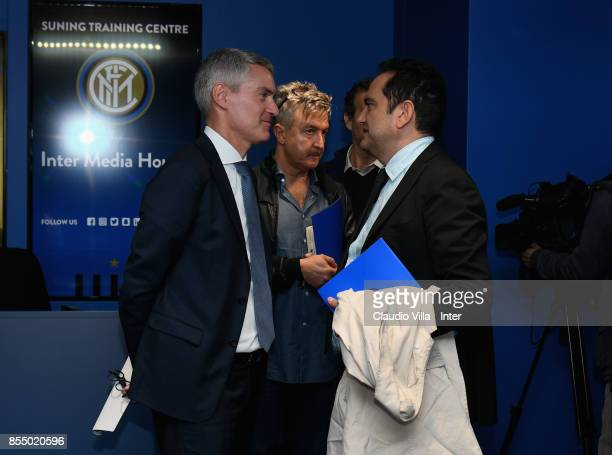 Internazionale Alessandro Antonello and Matteo Marani chat during unveil new media house at Suning Training Center at Appiano Gentile on September 28...