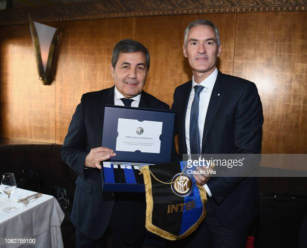 Internazionale Alessandro Antonello and President FPF Fernando Gomes pose for a photo before the UEFA Nations League A group three match between...