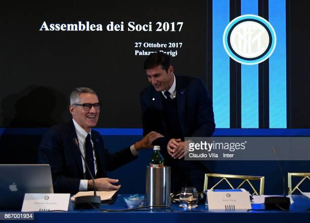 Internazionale Alessandro Antonello and Vice President FC Internazionale Javier Zanetti chat during the FC Internazionale Milano Shareholders'...