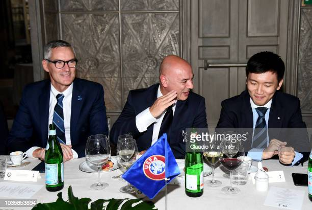 CEO FC Internazionale Alessandro Antonello Daniel Levy Chairman of Tottenham Hotspur and FC Internazionale Milano board member Steven Zhang Kangyang...