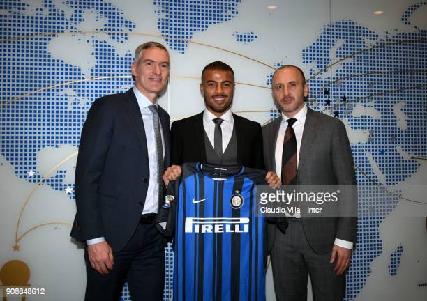 CEO FC Internazionale Alessandro Antonello new signing of FC Internazionale Milano Rafael Alcântara do Nascimento Rafinha and Sportif Director of FC...