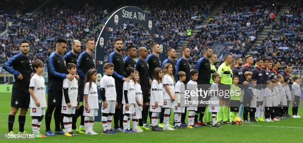 Internazionale and Genoa CFC team line up prior to the Serie A match between FC Internazionale and Genoa CFC at Stadio Giuseppe Meazza on November 3...