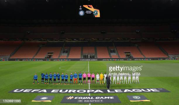 Internazionale and PFC Ludogorets team line up prior to the UEFA Europa League round of 32 second leg match between FC Internazionale and PFC...
