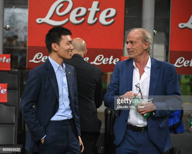 Internazionale board member Steven Zhang and Suning Sports Technical Director Walter Sabatini speak before the Serie A match between FC...