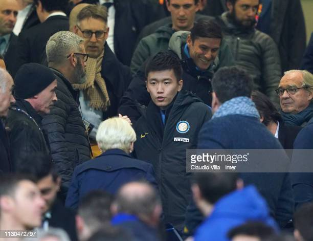 Internazionale board member Steven Zhang attends during the UEFA Europa League Round of 16 Second Leg match between FC Internazionale and Eintracht...