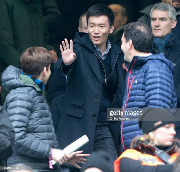 Internazionale board member Steven Zhang greets the fans prior to the Serie A match between FC Internazionale and Empoli FC at Stadio Giuseppe Meazza...