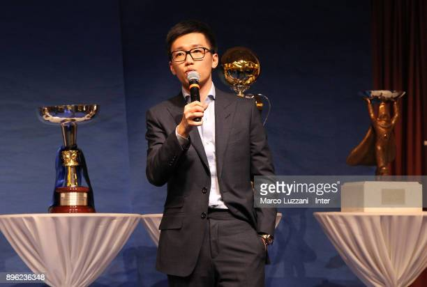 Internazionale board member Steven Zhang speaks during FC Internazionale Youth Teams Christmas Party on December 20 2017 in near Milan Italy
