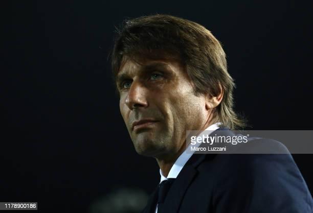 Internazionale coach Antonio Conte looks on before the Serie A match between Brescia Calcio and FC Internazionale at Stadio Mario Rigamonti on...
