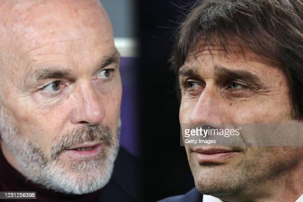 Internazionale coach Antonio Conte looks on during the Coppa Italia Quarter Final match between FC Internazionale and ACF Fiorentina at San Siro on...