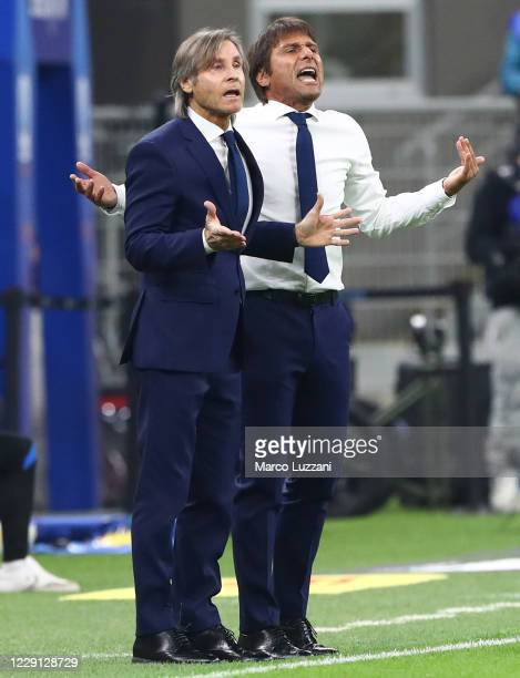 Internazionale coach Antonio Conte reacts during the Serie A match between FC Internazionale and AC Milan at Stadio Giuseppe Meazza on October 17...