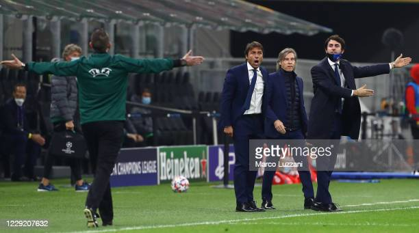 Internazionale coach Antonio Conte reacts during the UEFA Champions League Group B stage match between FC Internazionale and Borussia...