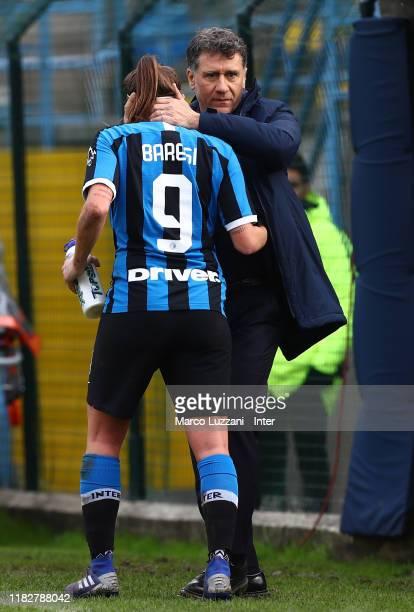 Internazionale coach Attilio Sorbi embraces Regina Baresi during the Women Serie A match between FC Internazionale and Orobica at Campo Sportivo F...
