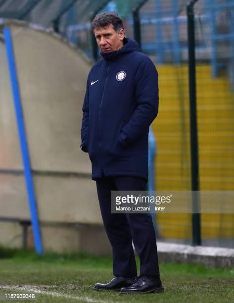 Internazionale coach Attilio Sorbi looks on during the Women Coppa Italia match between FC Internazionale v AC Milan on December 11, 2019 in Solbiate...