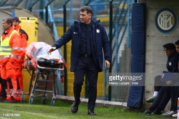 Internazionale coach Attilio Sorbi watches the action during the Women Serie A match between FC Internazionale and Orobica at Campo Sportivo F...