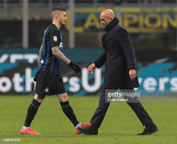 Internazionale coach Luciano Spalletti and Mauro Emanuel Icardi of FC Internazionale look dejected at the end of the Serie A match between FC...