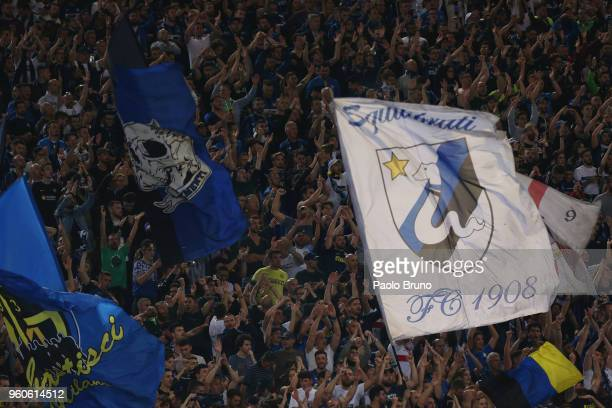 Internazionale fans celebrate the victory after the Serie A match between SS Lazio and FC Internazionale at Stadio Olimpico on May 20 2018 in Rome...