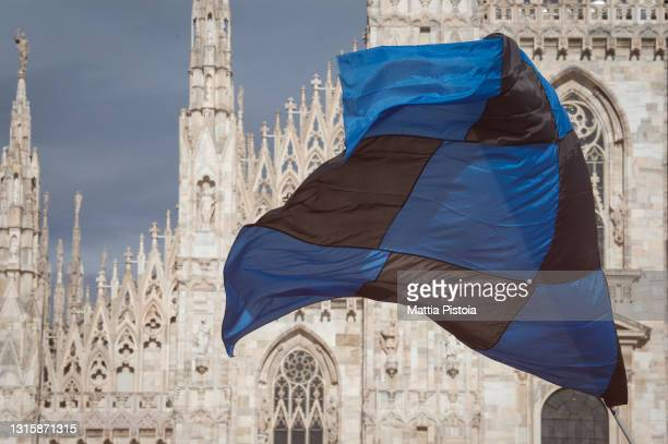 Internazionale Fans Celebrate Winning The Serie A Title on May 02, 2021 in Milan, Italy.