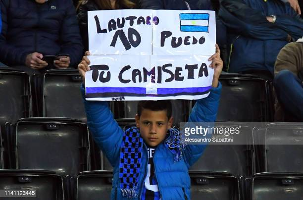 Internazionale fans during the Serie A match between Udinese and FC Internazionale at Stadio Friuli on May 4, 2019 in Udine, Italy.