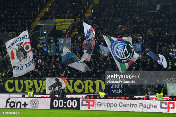 Internazionale fans show their support during the Serie A match between Udinese Calcio and FC Internazionale at Stadio Friuli on February 2 2020 in...