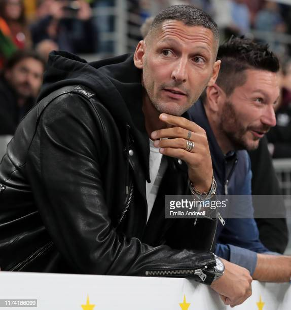 Internazionale former player Marco Materazzi attends the Serie A match between FC Internazionale and Juventus at Stadio Giuseppe Meazza on October 6,...