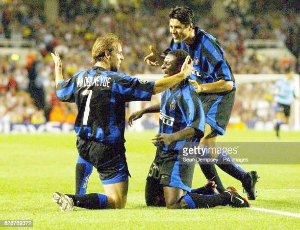 FC Internazionale goalscorers Andy Van Der Meyde Martins and Ricardo Julio Cruz all three scored against hosts Arsenal during their Champions League...