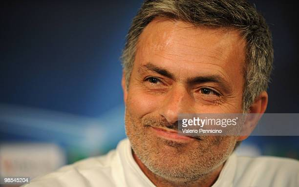 Internazionale head coach Jose Mourinho appears during a press conference ahead of their UEFA champions league semi-final, leg 1 match against...