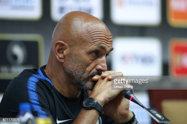 Internazionale head coach Luciano Spalletti attends the a press conference ahead of the 2017 International Champions Cup football match between...