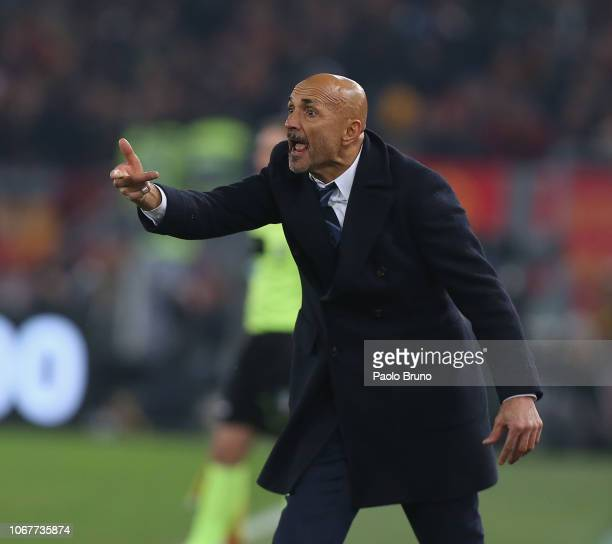 Internazionale head coach Luciano Spalletti reacts during the Serie A match between AS Roma and FC Internazionale at Stadio Olimpico on December 2...