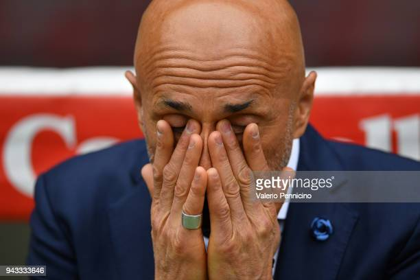 Internazionale head coach Luciano Spalletti reacts during the Serie A match between Torino FC and FC Internazionale at Stadio Olimpico di Torino on...