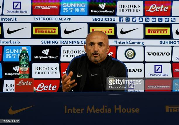 Internazionale head coach Luciano Spalletti speaks to the media during a FC Interrnazionale press conference at Appiano Gentile on December 29 2017...