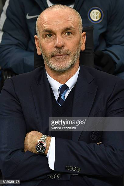 Internazionale head coach Stefano Pioli looks on during the Serie A match between AC Milan and FC Internazionale at Stadio Giuseppe Meazza on...