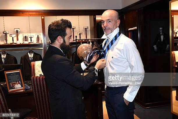 Internazionale head coach Stefano Pioli visits Brook Brothers Store on November 11 2016 in Milan Italy