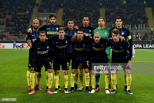 Internazionale line up prior to the UEFA Europa League match between FC Internazionale Milano and AC Sparta Praha at Stadio Giuseppe Meazza on...