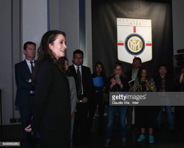 Internazionale Marketing Director Maria Laura Albini speaks with the media during the unveiling of FC Internazionale 'Innovative Passion' Concept At...