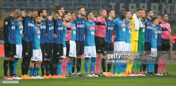 Internazionale Milano and SSC Napoli players and match officials line up to pay their respects to the late Fiorentina Captain Davide Astori before...
