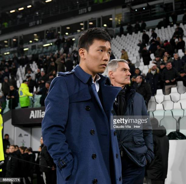 Internazionale Milano board member Steven Zhang Kangyang and CEO FC Internazionale Alessandro Antonello look on during the Serie A match between...