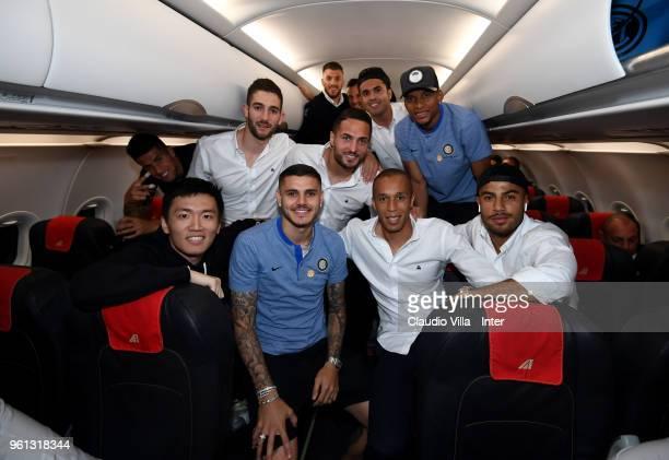 Internazionale Milano board member Steven Zhang Kangyang and Danilo D'Ambrosio Citadin Martins Eder Dalbert Henrique Chagas Estevão Davide Santon...