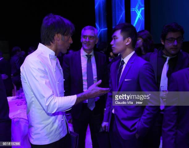 Internazionale Milano board member Steven Zhang Kangyang and Davide Oldani attend FC Internazionale 110 Years Anniversary at Hangar Pirelli on March...
